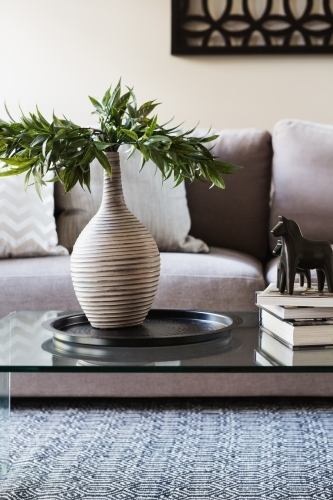 Close up of decor items on a living room coffee table