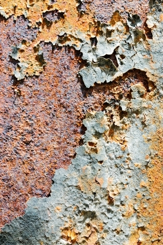 close up of flaking paint and rust
