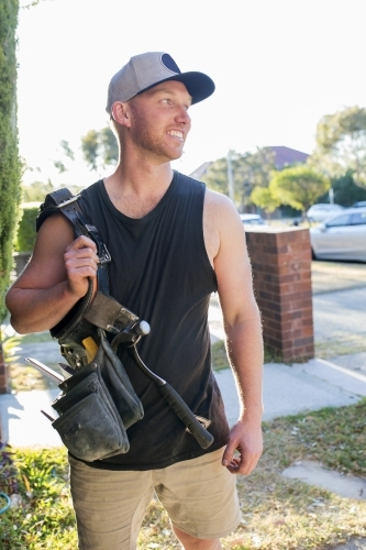Close up of tradesman with toolbelt
