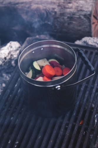 Close up of vegetables cooking in steel pot on the grill on a smoking campfire