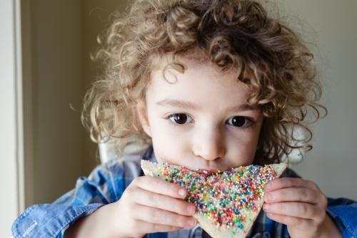 Close up portrait of a young boy with blond curly hair eating a slice of fairy bread