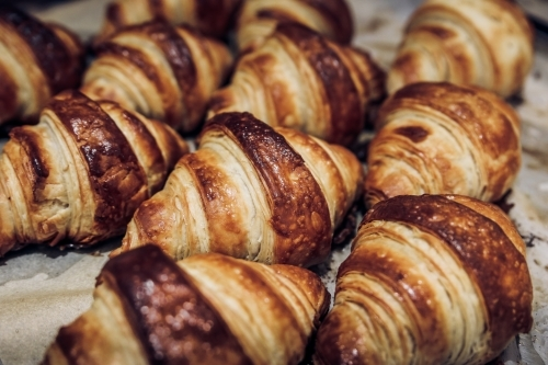 Close up shot of fresh baked croissants