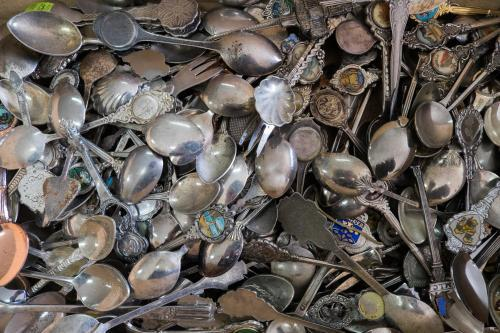 Collection of vintage souvenir teaspoons