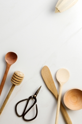 Collection of wooden kitchen utensils