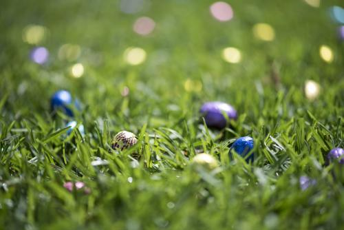 Coloured foil easter eggs in grass