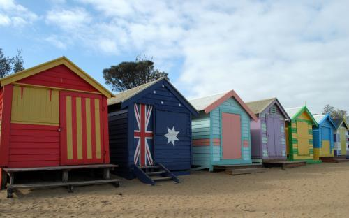 Colourful bathing boxes at Dendy Street Beach
