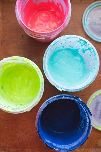 Colourful pots of ink / paint