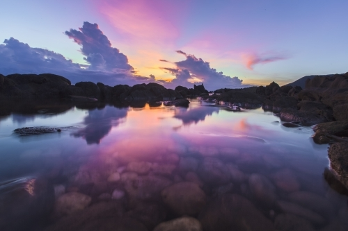 Colourful reflections of the sky at sunrise