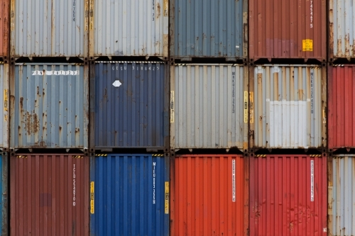 Colourful shipping containers