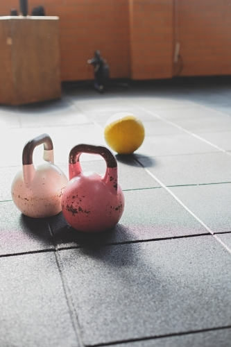 Colourful weights in an indoor gym