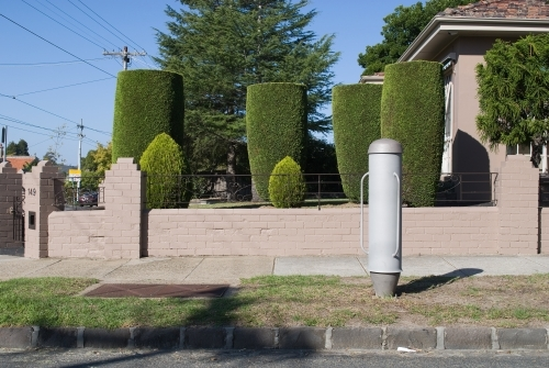 An electrical cylinder outside a garden of similar shaped trees