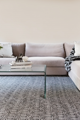 Contemporary living room sofa with blank wall for your artwork