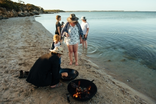 Cooking on the beach at Coffin Bay NP