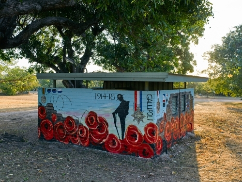 Toilet block with anzac mural in a remote town