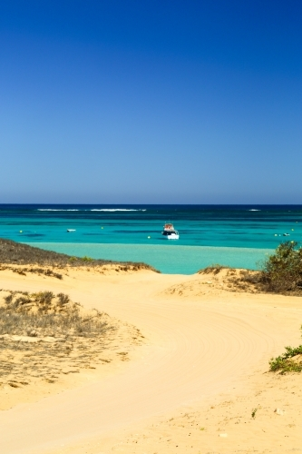 The ocean and Ningaloo Reef in Coral Bay, Western Australia