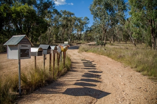 Row of country mailboxes on rural dirt road