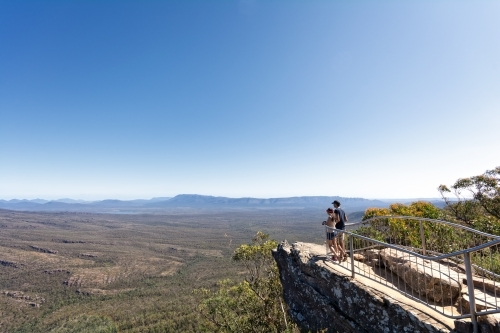 Couple enjoying the view at The Reeds Lookout, Grampians
