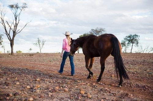 Cowgirl walking horse on rocky outback road