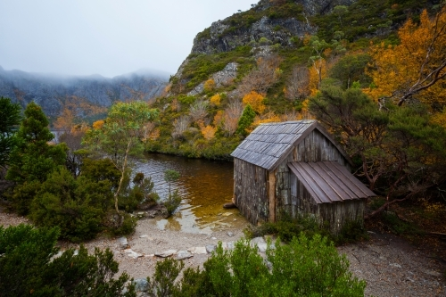 Crater Lake and Boat Shed - Cradle Mountain Lake St Clair National Park - Tasmania - Australia