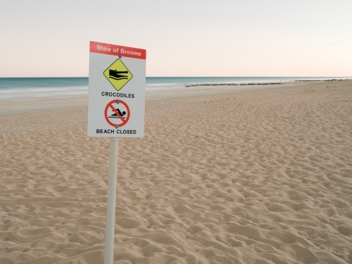 Crocodile Warning Sign on Deserted Cable Beach