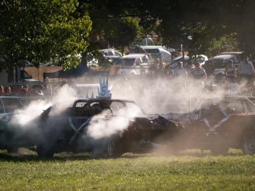 Demolition derby with smoke at the Walcha Show