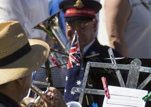 Detail of brass band playing on ANZAC Day