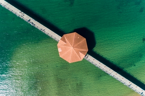 Diagonal aerial view of Redcliffe Pier.
