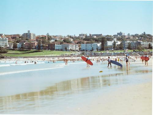 Distant view of people entering the water with long boards on Bondi Beach