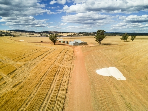 Looking down over a road in a paddock leading to farm sheds