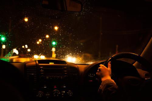 Driving in the rain late at night