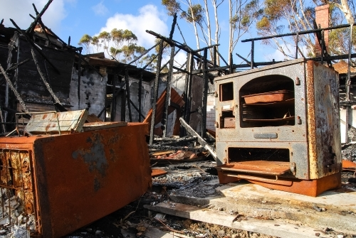 The remains of house fire in regional Victoria
