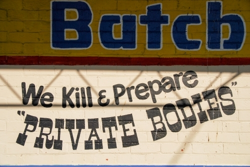Signage on the wall of a butcher in country Victoria
