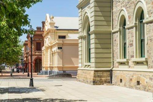 The streetscape of restored historic buildings of the maritime Port Adelaide