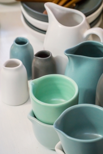 A collection of small jugs