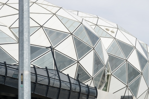The triangular panels on the domes of AAMI Park in Melbourne
