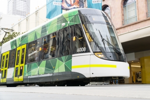 A modern city tram on a Melbourne street