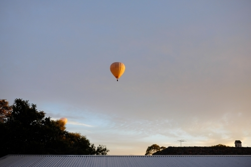 A couple of yellow hot air balloons floating above the suburbs