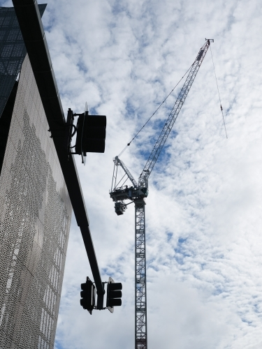 Crane in city carrying out building work