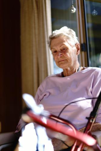 Elderly Woman Looking Reflective
