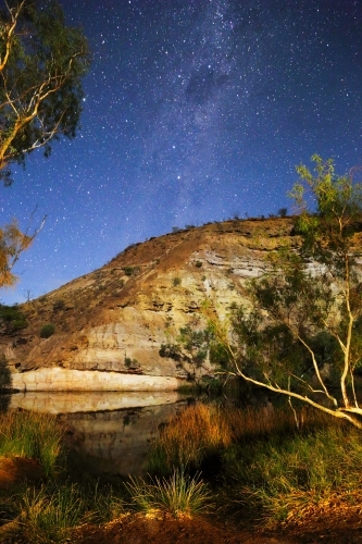 A light-painting plus the Milky Way stars at Ellendale Pool near Geraldton, WA.