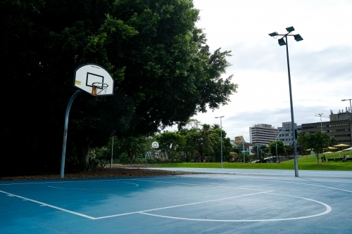 Empty basketball court in local park
