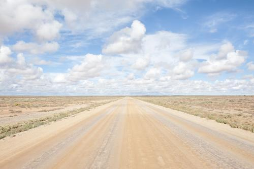 Empty straight dirt road leads to horizon