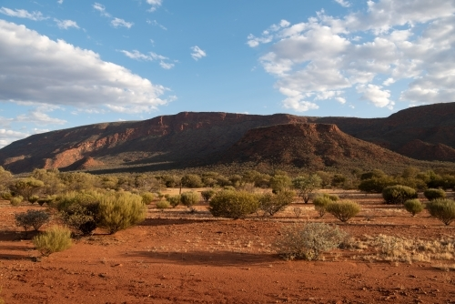 Evening shadows on the red earth of Mt Augustus