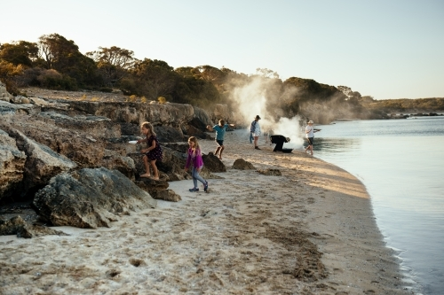 Exploring and cooking on the beach Coffin Bay NP