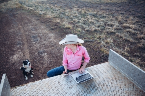 Farmer looking at dog while touching laptop