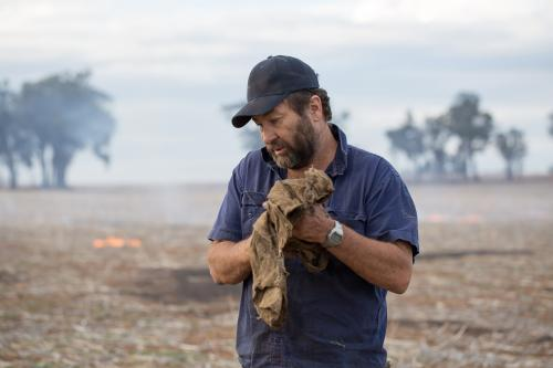 Farmer wiping hands on dirty cloth with burning stubble in background