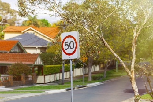 Fifty speed limit sign in suburbia