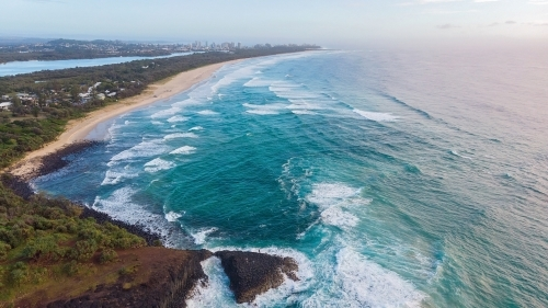 Fingal Head from Above with turbulent waves