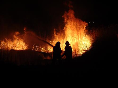Firefighters fighting a grass fire at night silhouetted against the fire