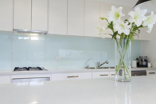 Close up of white flowers in contemporary what kitchen